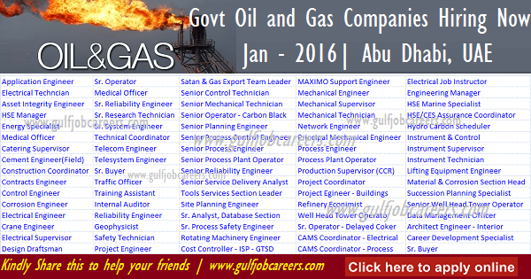 Various Govt Oil And Gas Companies Hiring Now Uae