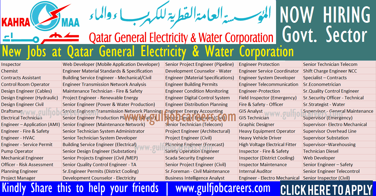 Job Vacancies At Kahramaa Qatar General Electricity