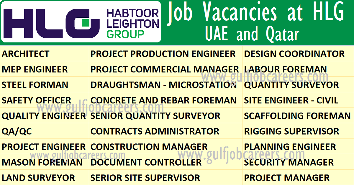 Job Vacancies At Hlg Habtoor Leighton Group Uae And Qatar