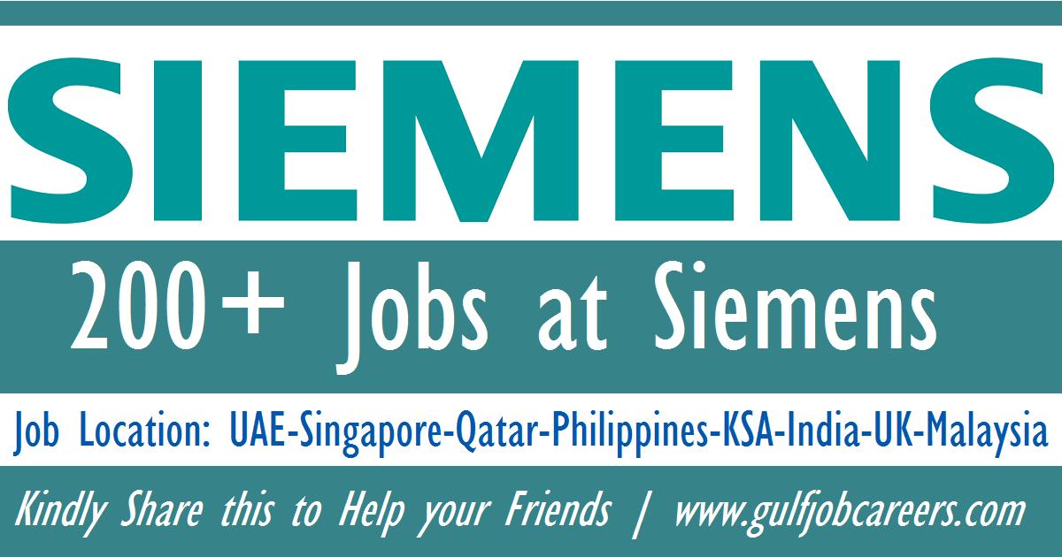 Latest Jobs at Siemens - UAE-Singapore-Qatar-Philippines-KSA-India-UK