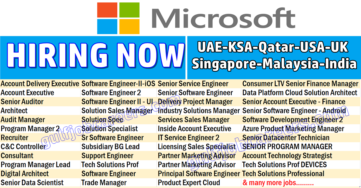 Microsoft Job Vacancies - UAE-KSA-Qatar-USA-UK-India ...