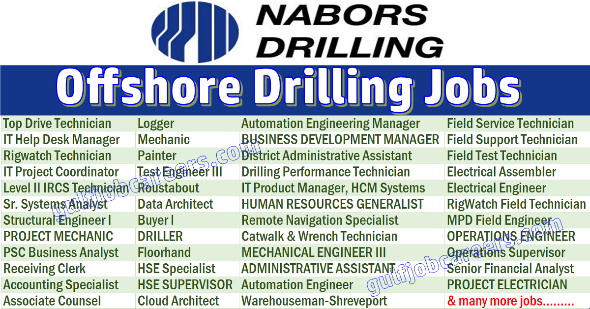 Roustabout Nabors Various Location: Nabors Industries Job Openings
